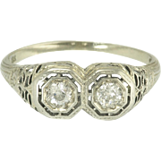 Sweet Vintage Art Deco Double Diamond and 18k White Gold Floral Filigree Engagement or Wedding Ring