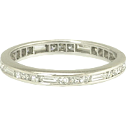 Pretty Art Deco Baguette and Round Diamond Eternity Ring in Platinum