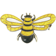 Margot de Taxco Vintage Sterling and Enamel Bee Pin Brooch - Mexico