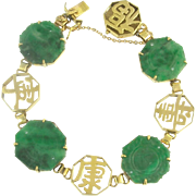 Vintage Jade and 14k Chinese Character Bracelet