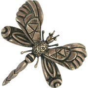 Victoria Sterling Dragonfly Pin Brooch - 1940s Taxco Mexico
