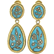 Enchanting Antique 14k Gold Pendant Earrings with Rose Cut Diamond Flowers in Silver on Turquoise Blue Enamel