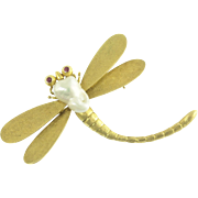 Charming Vintage Dragonfly Brooch in 14k Gold and Baroque Pearl with Ruby Eyes
