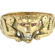 Antique Victorian Lion and Griffin Ring in 14k Gold with Diamond and Rubies
