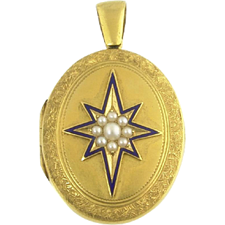 Large Antique Victorian Engraved Star Locket in 14k Gold Pearl and Enamel