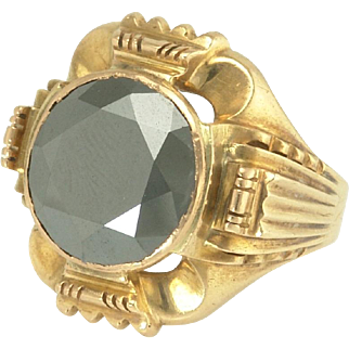 Powerful Art Deco Hematite Ring in 14k Gold