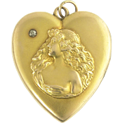 Large Antique Art Nouveau Heart Locket with Stargazing Beauty in 14k Gold and Diamond