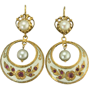 Vintage Gypsy Style Earrings with Rubies Cultured Pearls and Enamel in 14k Gold