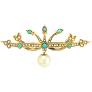 Antique Victorian Turquoise Pearl Pendant Brooch in 14k Gold