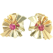 Vintage Retro 14k Rose and White Gold Clip Earrings with Rubies
