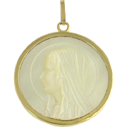 Vintage St Mary Madonna Virgin Mary Mother of Pearl and 18k Gold Religious Pendant