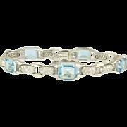 Supreme Edwardian Aquamarine and Diamond Bracelet in Platinum