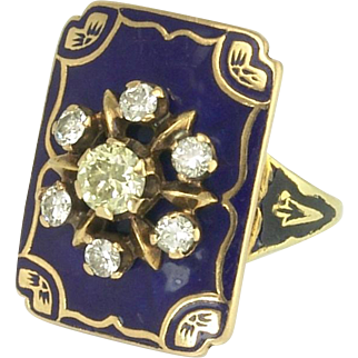 Impressive Beautiful 1920s Colored Diamond, Diamond and Enamel Ring in 14k Gold