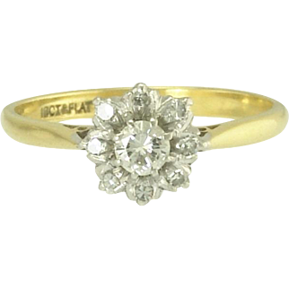 Art Deco Diamond and Platinum Topped 18k Gold Flower Cluster Ring