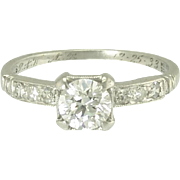 Art Deco Diamond and Platinum Traub Orange Blossom Solitaire Engagement Wedding Ring