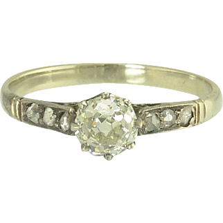 Antique Old European Cut and Rose Cut Diamond Solitaire Engagement Wedding Ring in 18k White Gold