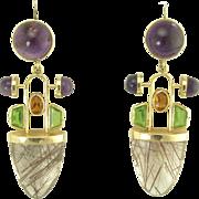 Juicy Vintage 1970s Multi-Gem Stone Pendant Earrings in 14k