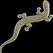 Monumental Vintage Sterling Silver and Marcasite Salamander Lizard Gecko Brooch