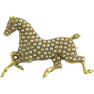 Charming Victorian Seed Pearl and Ruby Horse Watch Pin in 14k Gold
