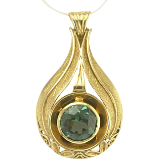 Large Vintage Sparkling Blue Green Zircon Pendant in 14k Yellow Gold