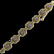 Vintage Amethyst Link Bracelet in 14k Gold