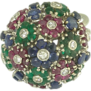Fabulous Vintage Diamond Ruby Emerald Sapphire Flower Bouquet Ring in 18k White Gold
