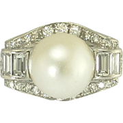 Vintage Art Deco Diamond Pearl Ring in Platinum