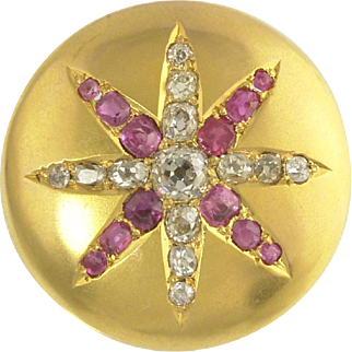 Antique Victorian Diamond and Ruby Star Brooch in 14k Bloomed Gold