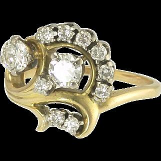 Vintage Floral Diamond Ring in 18k Gold
