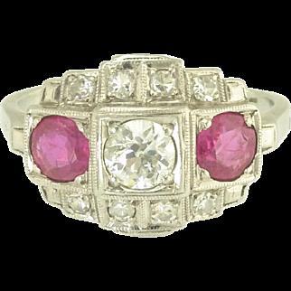 Vintage Art Deco Diamond Ruby Platinum Ring