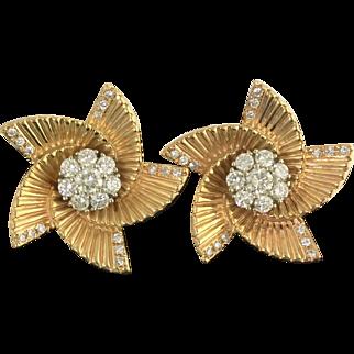 Dynamic Retro Diamond Earrings in 14k Gold