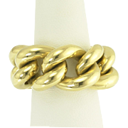Theatrical Mid-Century Flexible Chain Ring in 18k