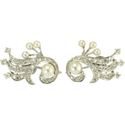 Vintage Diamond Akoya Pearl and 14k White Gold Earrings