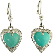 Vintage Turquoise and Diamond Heart Pendant Earrings in 14k White Gold