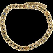 Vintage 15ct 15k Gold Gem Set Curb Link Bracelet
