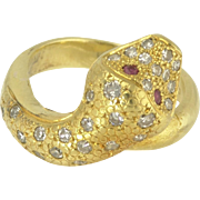 Vintage 18k Gold Diamond and Ruby Snake Ring