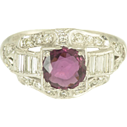Art Deco Ruby and Diamond Engagement Wedding Ring in Platinum