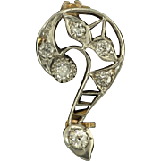 Art Deco Diamond and 14k White and Yellow Gold Filigree Question Mark Brooch