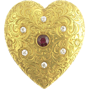 Antique Ruby and Diamond Engraved Heart Pendant in 14k Gold