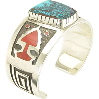 Handsome Vintage Michael Perry Navajo Turquoise Coral and Sterling Arrow Motif Cuff Bracelet