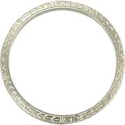 Vintage Art Deco Platinum Engraved Eternity Wedding Eternity Band Ring - Size 6.5