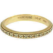 Art Deco White Rose Floral Eternity Wedding Stacking Band Ring in 14k White and Yellow Gold
