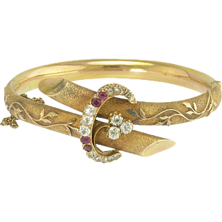 Very Fine Antique Victorian Diamond and Ruby Bangle Bracelet in 14k Gold