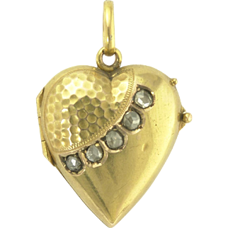 Antique Victorian Rose Cut Diamond and 15k 15ct Heart Locket