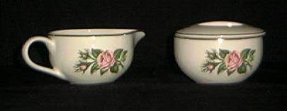 Covered Sugar And Creamer In The Minerve Rose Pattern