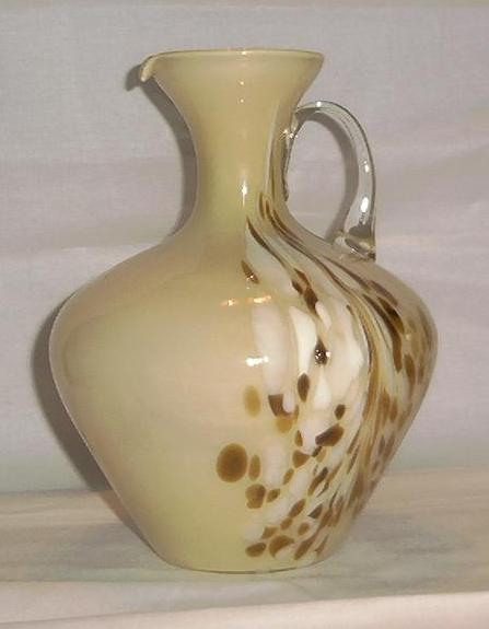 Art Glass Pitcher with Attached Handle
