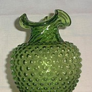 Green Hobnail Vase With Swirled Neck And Rolled Top Edge
