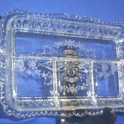 Beautiful Etched Four Section Relish Dish