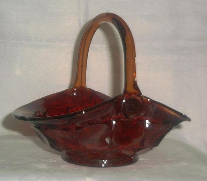 Ruby Glass Basket With Amberina Upper Edge
