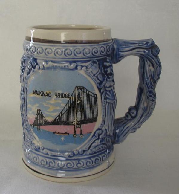 Mackinac Bridge Souvenir Ceramic Stein
